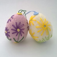 set of two embroidered and felted eggs  easter decoration felt flower egg