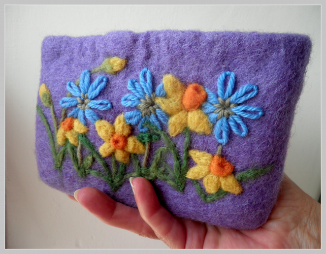 HALF PRICE felted and embroidered daffodil coin purse, lilac floral  make up bag