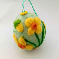 Felted daffodil egg hanging easter flowe decoration