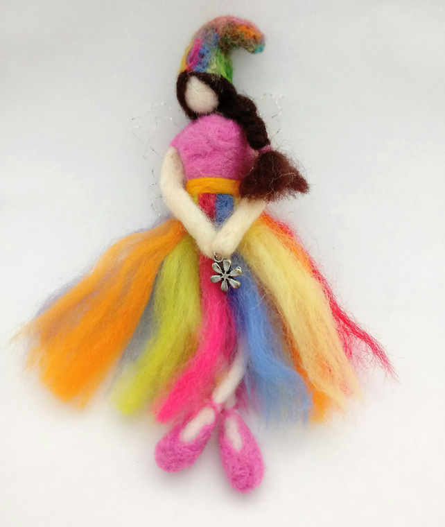 Handmade felted rainbow fairy needlefelted fairy decoration