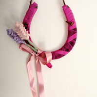 Wedding horseshoe bridal gift pink horseshoe knitted lavender