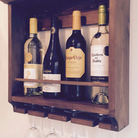 Wine rack, rustic, holds four bottles and glasses