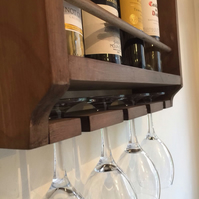 Wine rack, rustic, holds bottles and glasses