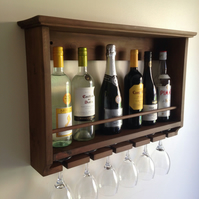 Wine rack, rustic for six bottles and glasses