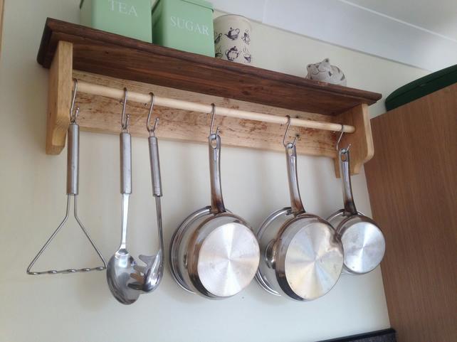 Cottage style pan rack with shelf - reclaimed wood with hooks
