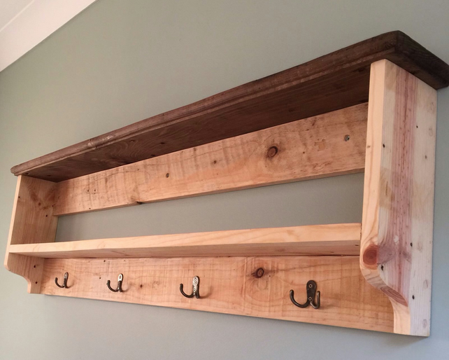 Large farmhouse double rustic shelf