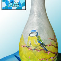 Custom Hand Painted Colourful Glass Vase With Blue Tit on Cherry Blossom Branch
