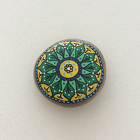 Hand painted pebble Mandala paperweight