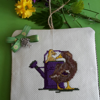 Handmade Mother & baby ducks crossstitch ornament
