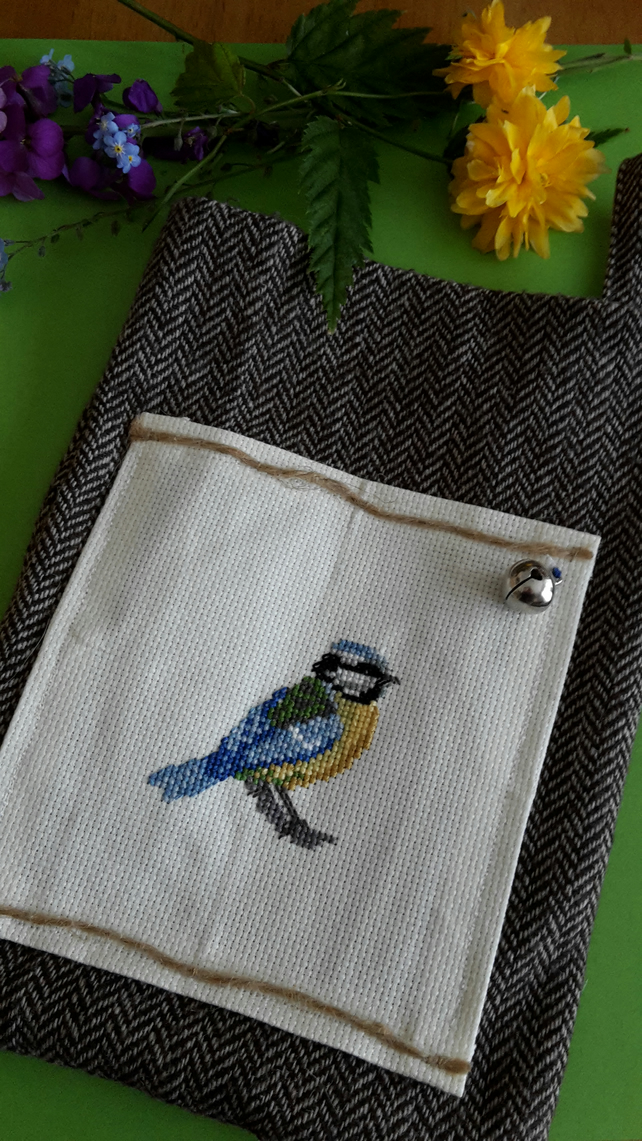 Handmade crossstitch Bluetit hanging bag