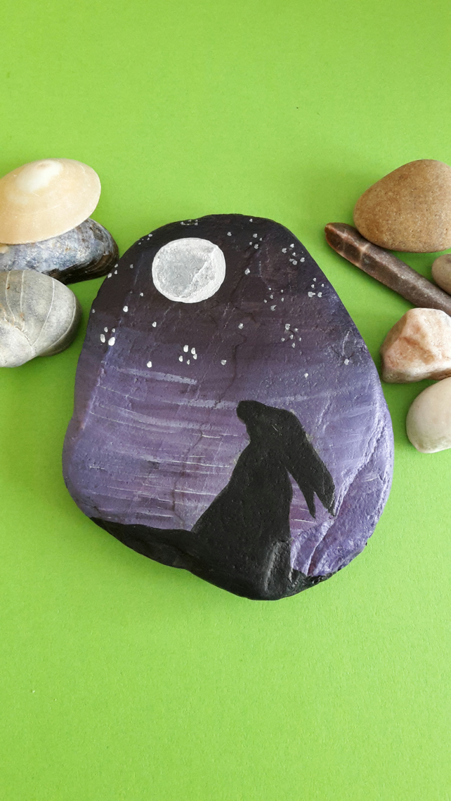 Handpainted moonlight Hare sea pebble