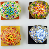 Seasonal Mandala Stones Pebble Paper weight Hand Made Painted Gift Unique Dales