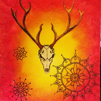 Original Painting of Deer Skull on Red & Yellow Background with Mandala Patterns