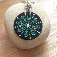 Green Mandala Hand Painted Key ring on African Black Wood made in the Dales