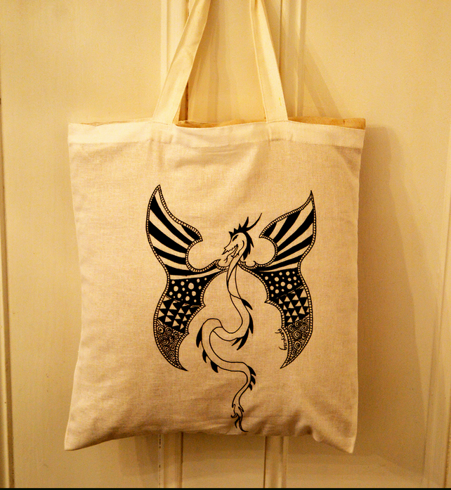 Mythical Hand Drawn Dragon Patterns Cotton Tote Bag Signed