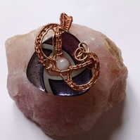Purple glass wire weave pendant