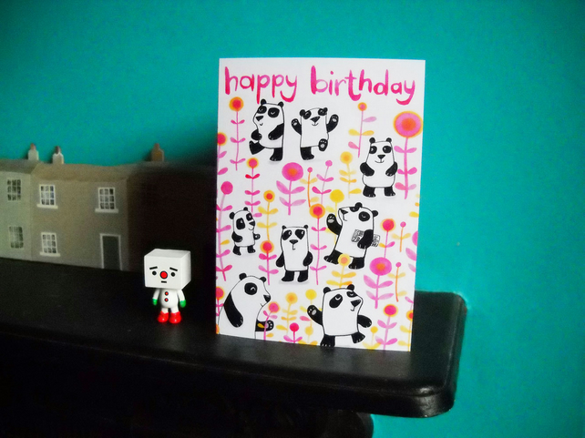 Panda birthday card -Happy Birthday Pandas by Jo Brown