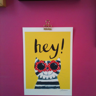 Hey! Cat print cool cat art print by Jo Brown