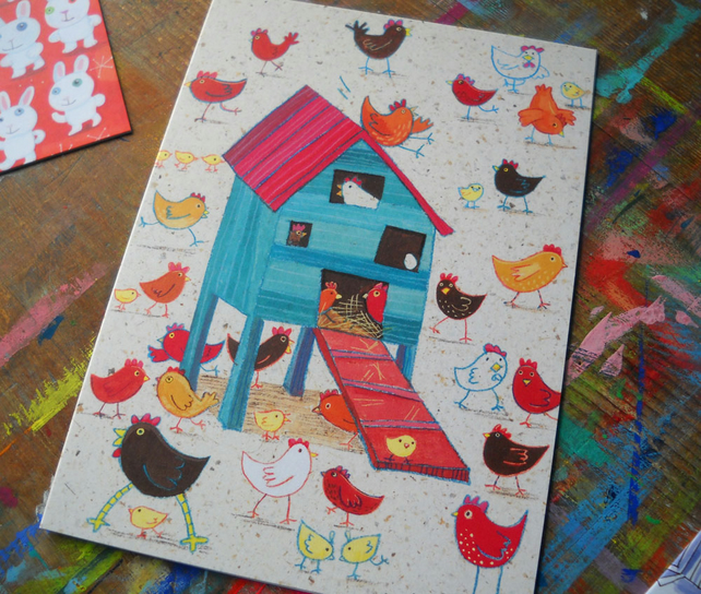 Hen House  Chicken greetings card by Jo Brown