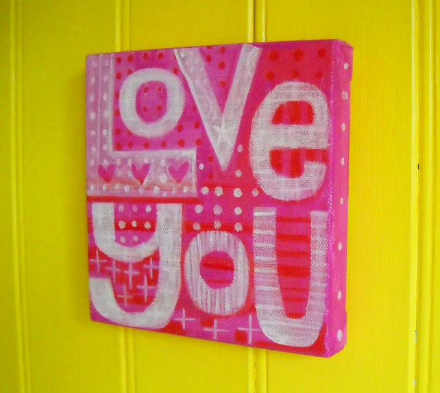 Love You - Pink! original acrylic painting on canvas by Jo Brown  free postage