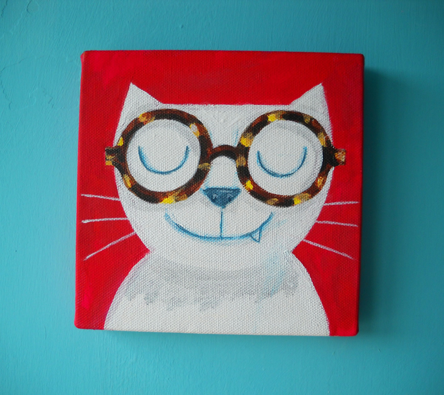 Spectacles Cat- original fun cat painting on canvas, with FREE SHIPPING UK