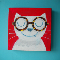 Spectacles Cat- original painting on canvas, with FREE SHIPPING UK