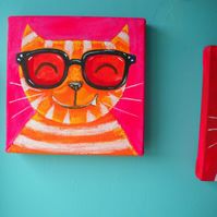 Orange Cat with NHS specs- painting by Jo Brown