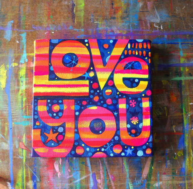 Love You original acrylic painting on canvas by Jo Brown cute Valentine's gift