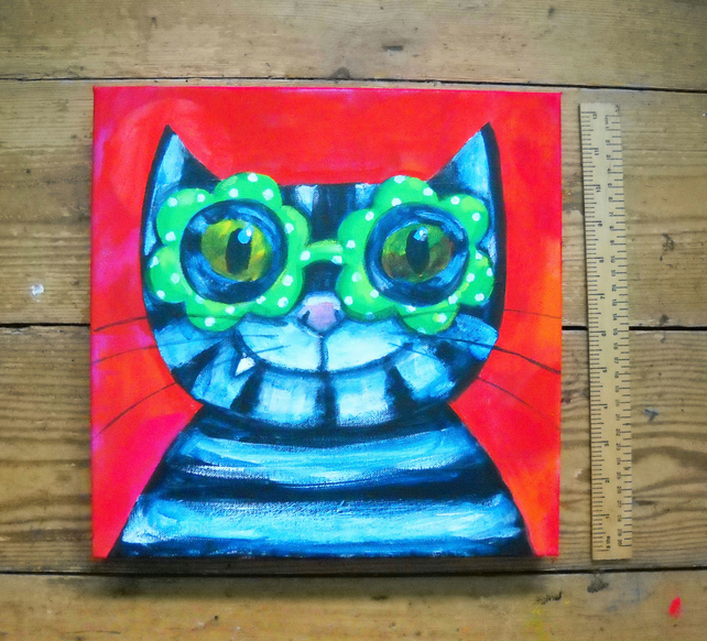original cat painting Spectacular Cat by Jo Brown - with free shipping UK