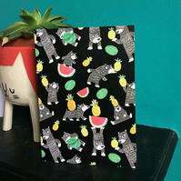 Bear Fruit  fun birthday card with bears watermelons and pineapples