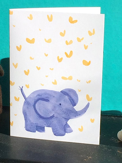 Baby Elephant Baby card with butterflies with free postage uk
