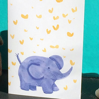 Cute Baby Elephant  with butterflies - baby card or friend birthday card