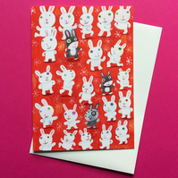 Tai Chi Bunnies greetings card by Jo Brown