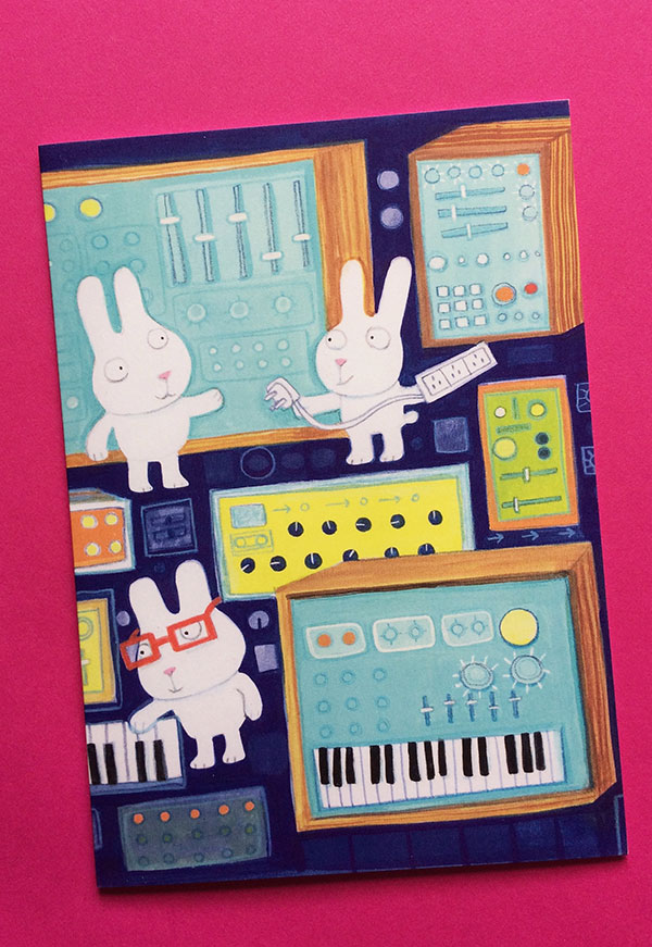 Rabbits with  Synthesisers greetings card by Jo Brown