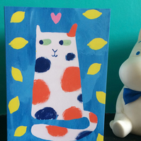 Lemon Cat blank card by Jo Brown with free UK shipping