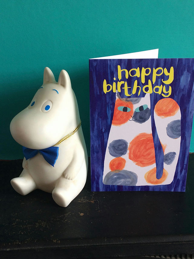 happy birthday calico cat card by Jo Brown, with free UK shipping