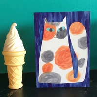 Calico cat card  with free uk shipping by Jo Brown