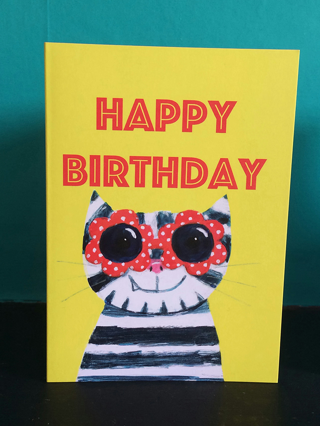 Sunglasses cat birthday card by Jo Brown with free UK shipping