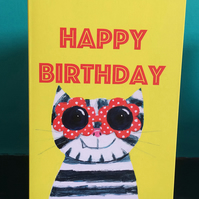 Fun Sunglasses cat Happy birthday card by Jo Brown