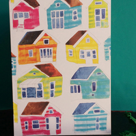 Beach Huts Card by Jo Brown