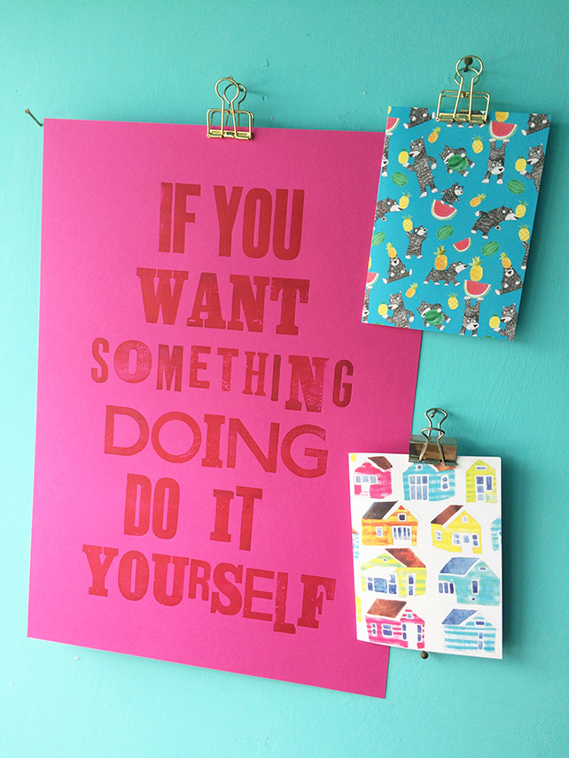 If You Want...Hot Pink Letterpress print by Jo Brown home office workspace decor