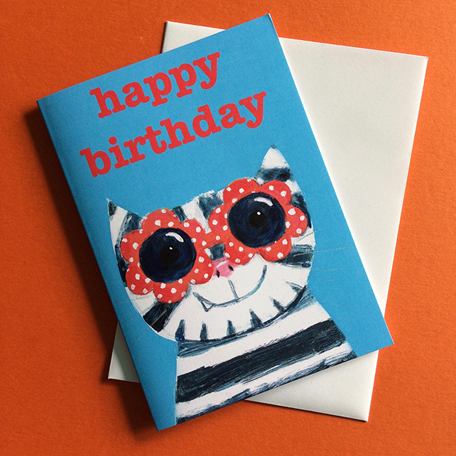Cool Cat  with sunglasses birthday card in blue card for cat lover by Jo Brown