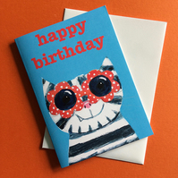 Cool Cat  with sunglasses birthday card in blue