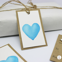 Hand Painted Gift Tags - Watercolour Heart - Individually Hand Painted
