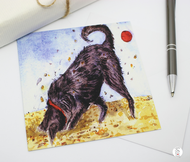 Hand Designed Digging Dog on Beach Greeting Card - Blank Inside
