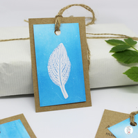 Set of  3 Hand Printed Mono Print Leaf Gift Tag Pack - Original Artwork