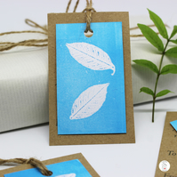 Individually Hand Printed Leaf Gift Tags - Set of Three