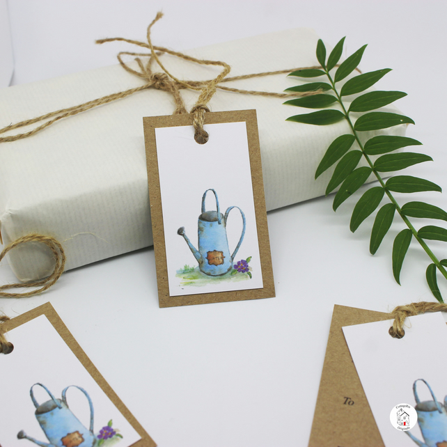 Gardening Watering Can Pack of Six Hand Designed Gift Tags
