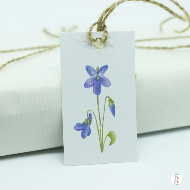 Violet Gift Tags - Pack of 7 - Print of Original Hand Watercolour Painting