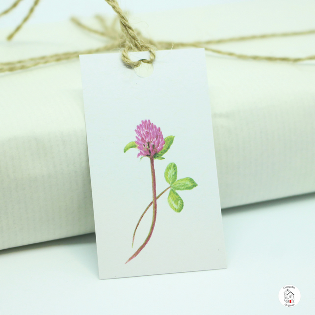 Red Clover Flower Gift Tags, Print of Original Hand Painted Design, Pack of 7